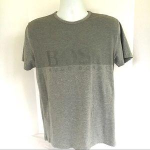 Boss Hugo Boss Logo Modern Fit Gray Tee Shirt Sz L